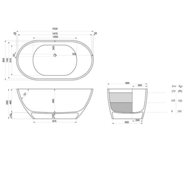 dado emily freestanding bath spec