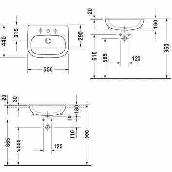 d code semi recessed basin 033955 tech