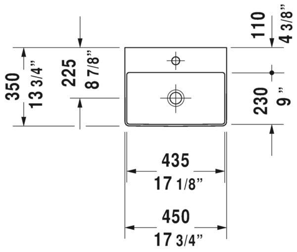 durasquare handrinse basin 07324500 spec