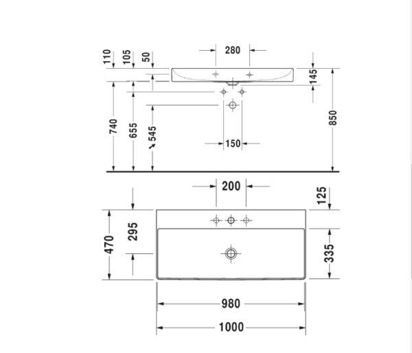 durasquare wall basin 1000 235310 spec
