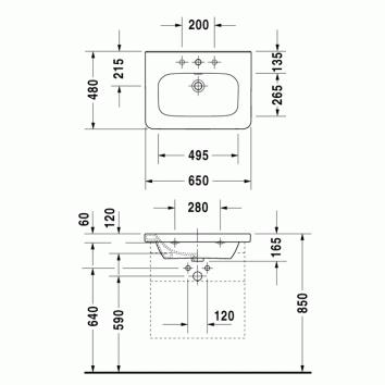durastyle 650 wall furniture basin 232065 tech