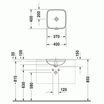 durastyle square undercounter basin 037337 tech