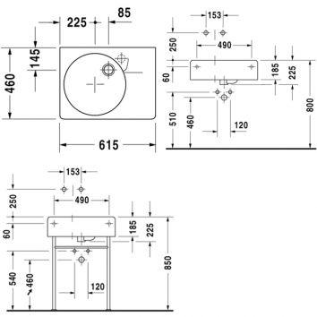 scola wall hung basin left 068460 tech
