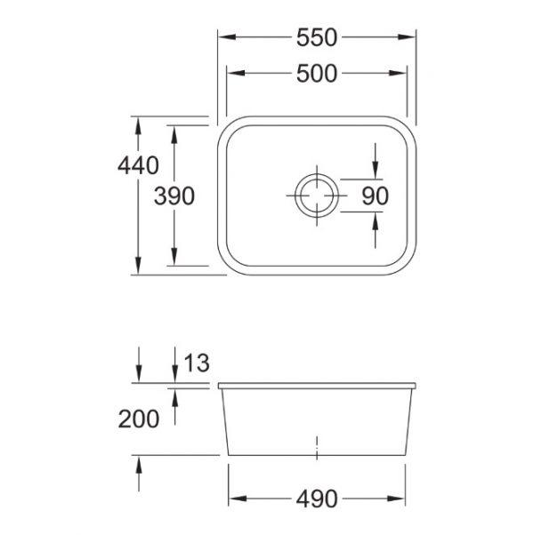 Cisterna 60C Ceramic Undermount Sink 670601R1 spec