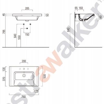 astra walker norm wall basin A93.91.75 spec