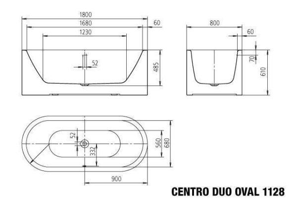 centro duo oval meisterstuck freestanding bath 1800 spec