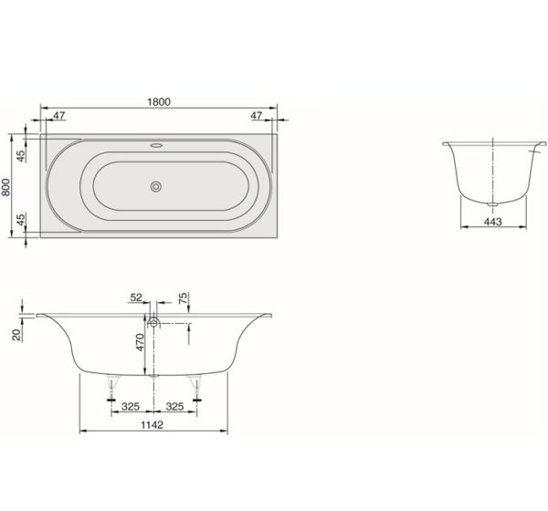 cetus 1800 rect inset bath spec