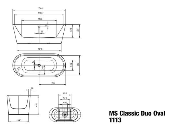 classic duo oval meisterstuck freestanding bath 1700 spec