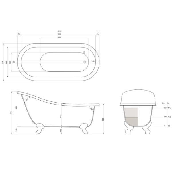 dado sofia freestanding bath spec