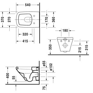 durastyle wall hung toilet pan D40511 spec
