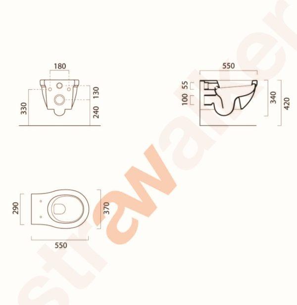 rona wall hung toilet pan A98.77 spec