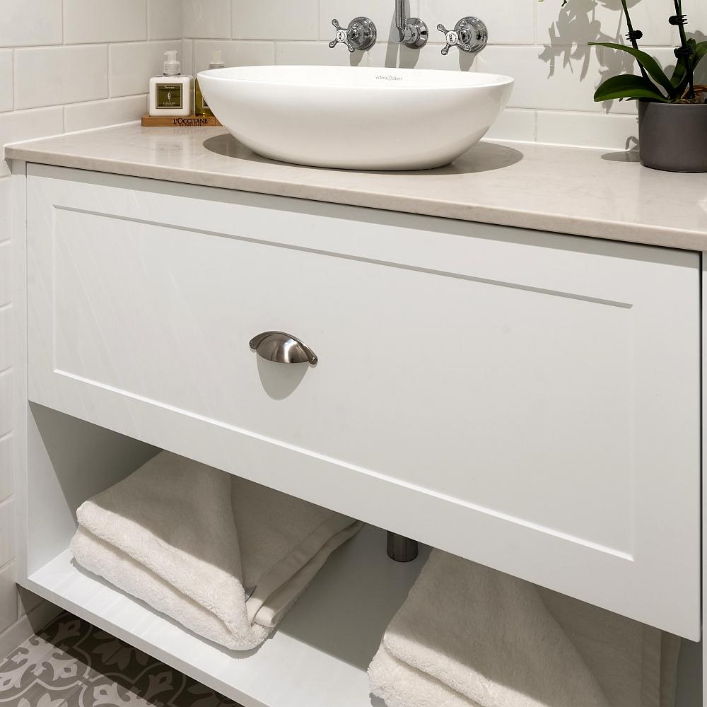 Hamptons wall hung bathroom vanity lavare - Small bathroom vanity with drawers ...