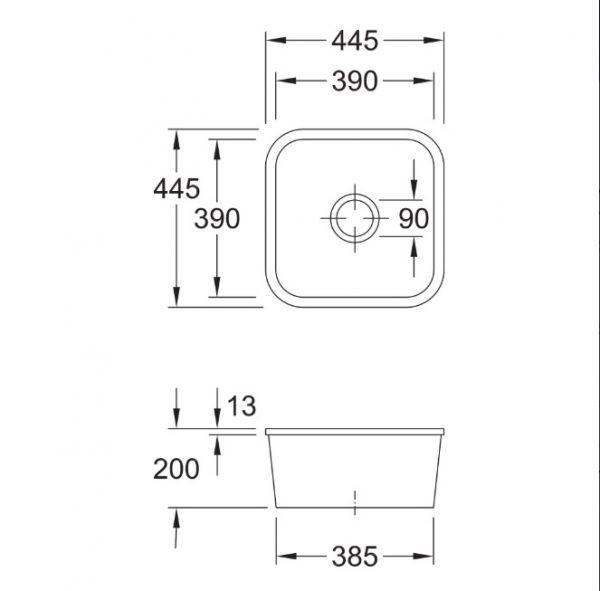Cisterna 445 Ceramic Undermount Sink 670301R1 spec
