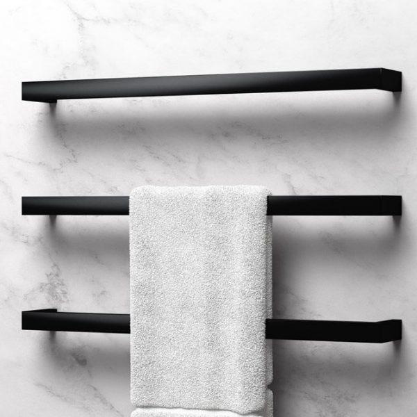 Avenir Cubo Heated Towel Rail Set Black