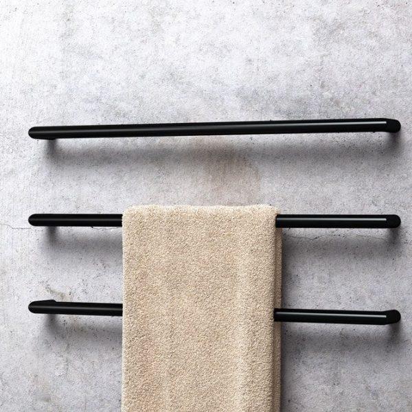 Avenir Solo Heated Towel Rail Black Set