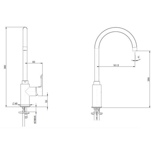 F.lli Frattini Mocca Kitchen Sink Mixer spec