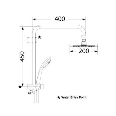 Architectura 200 Square Combination Shower VSC44220B spec